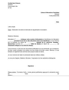 Exemple Gratuit De Lettre D 233 Claration D 233 C 232 S Et Demande