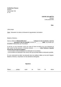 Lettre De Declaration De Deces Et Demande De Regularisation Aupres Du Centre Des Impots Modele De Lettre Gratuit Exemple De Lettre Type Documentissime