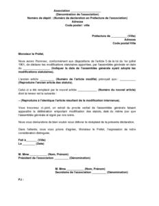 Lettre De Declaration De La Modification Des Statuts De L