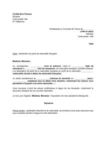 Lettre De Déclaration De Perte De La Nationalité Française