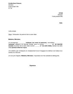 Exemple Gratuit De Lettre Declaration Perte Ou Vol Carte Vitale