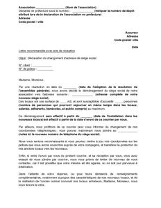 lettre de d 233 claration du changement de si 232 ge 224 l assureur de l association mod 232 le de lettre