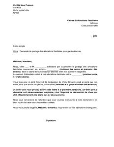Exemple Gratuit De Lettre Demande A Caf Partage Allocations
