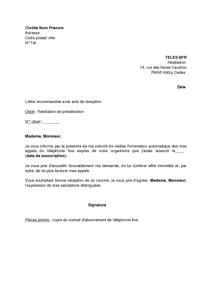 Modele Lettre Resiliation Sfr Gratuit Document Online