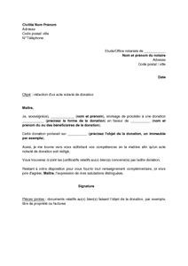 Exemple Gratuit De Lettre Demande A Notaire Redaction Un Acte Donation