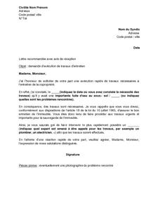 Exemple gratuit de lettre demande syndic ex cuter travaux entretien dans copropri t - Syndic de l immeuble ...