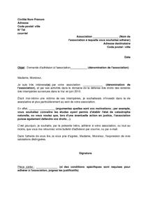 Lettre de demande d 39 adh sion une association de d fense - Declaration bureau association prefecture ...