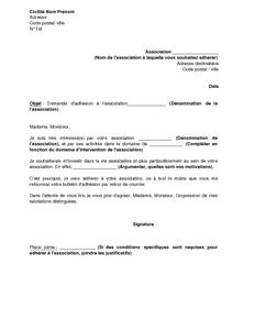 Exemple Gratuit De Lettre Demande Adhésion à Association