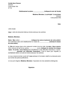 lettre de motivation cantiniere scolaire
