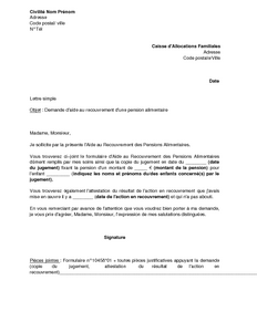 attestation pension alimentaire modele
