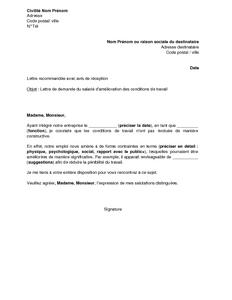 lettre de demande d 39 am lioration des conditions de travail par le salari mod le de lettre. Black Bedroom Furniture Sets. Home Design Ideas