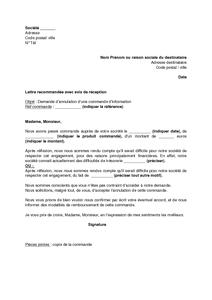 Modele de lettre pour annuler une commande contrat de travail 2018 - Delai pour annuler une commande ...