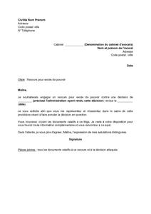 Exemple gratuit de Lettre demande assistance à avocat exercer ...