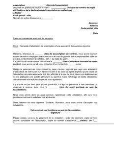 Lettre De Demande D Attestation D Assurance Pour Une Association
