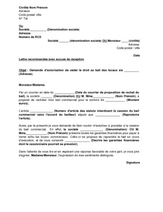 Cession de droit au bail commercial