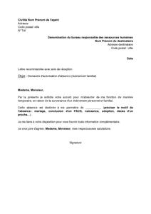 Exemple Gratuit De Lettre Demande Autorisation Absence Par