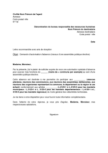 Lettre De Demande D Autorisation D Absence Par L Agent Public