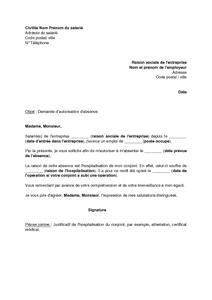 Exemple Gratuit De Lettre Demande Autorisation Absence