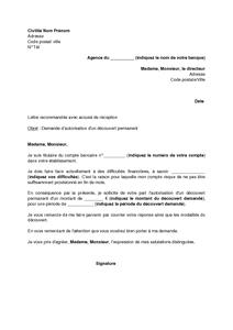 Exemple Gratuit De Lettre Demande Autorisation Decouvert Permanent