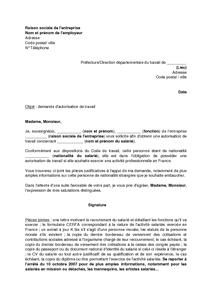 Lettre De Demande D Autorisation De Travail Pour Un