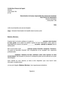 Lettre De Demande D Autorisation De Travailler Dans Le Secteur Prive