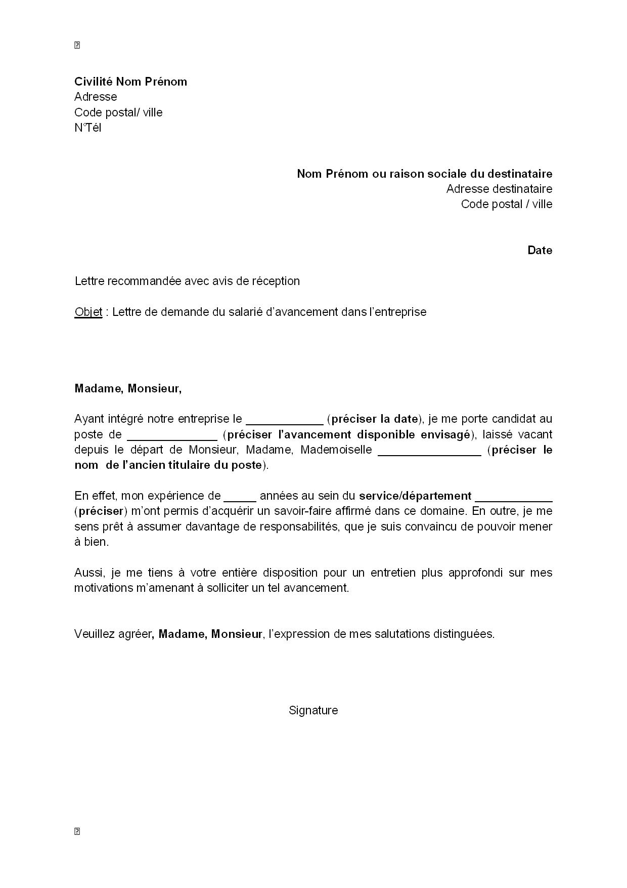 exemple gratuit de lettre demande avancement dans entreprise par salari u00e9