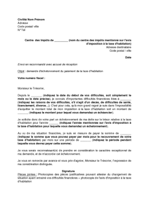 Exemple Gratuit De Lettre Demande Echelonnement Paiement Taxe Habitation