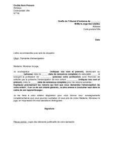modele de lettre pour ecrire au juge des tutelles Exemple gratuit de Lettre demande émancipation juge tutelles modele de lettre pour ecrire au juge des tutelles