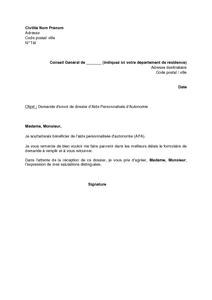 Lettre De Demande D Envoi De Dossier D Allocation Personnalisee D