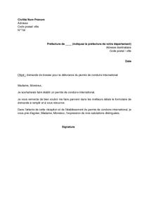 Lettre De Demande D Envoi De Dossier Pour La Delivrance Du Permis De