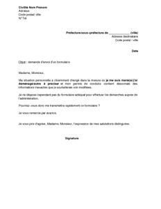 Lettre De Demande D Envoi Du Formulaire Pour Modification Du