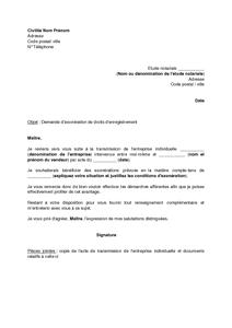 lettre de demande d 39 exon ration de droits d 39 enregistrement pour transmission d 39 une entreprise. Black Bedroom Furniture Sets. Home Design Ideas