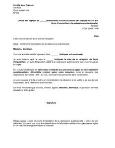 Lettre de demande d 39 exon ration de la redevance audiovisuelle pour une pe - Exoneration redevance tv personnes agees ...