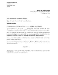 lettre de demande de degrevement taxe fonciere