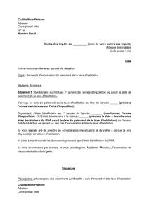 Lettre De Demande D Exoneration De La Taxe D Habitation Pour Les