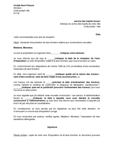 Lettre De Demande D Exoneration De Taxe Fonciere Pendant 2 Ans