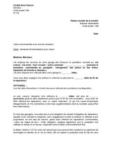 lettre de demande d 39 indemnisation au garagiste pour retard mod le de lettre gratuit exemple. Black Bedroom Furniture Sets. Home Design Ideas