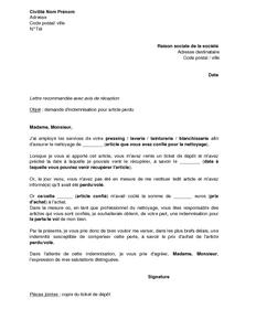 Lettre de demande d 39 indemnisation au pressing teinturier blanchisserie pour perte ou vol - Lettre restitution caution avec retenue ...