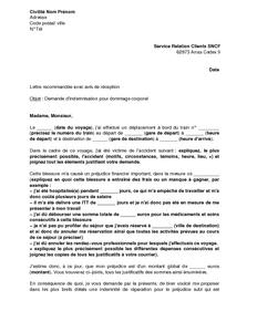 Lettre De Demande D Indemnisation Aupres De La Sncf Pour Dommages