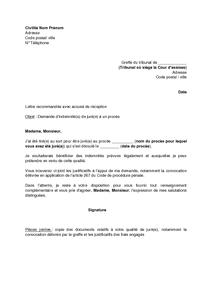 Lettre De Demande D Indemnite De La Part D Un Jure A Un Proces Modele De Lettre Gratuit Exemple De Lettre Type Documentissime
