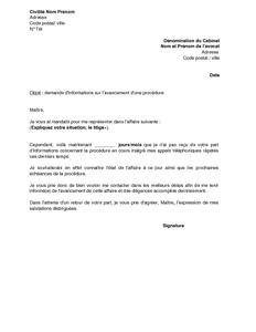 Exemple Gratuit De Lettre Demande Information à Avocat Sur