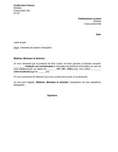 modele de lettre d inscription dans une école Exemple gratuit de Lettre demande inscription à école élémentaire modele de lettre d inscription dans une école