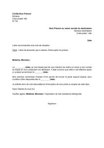 lettre de preavis location meublee - exemple gratuit de lettre demande interruption pr avis