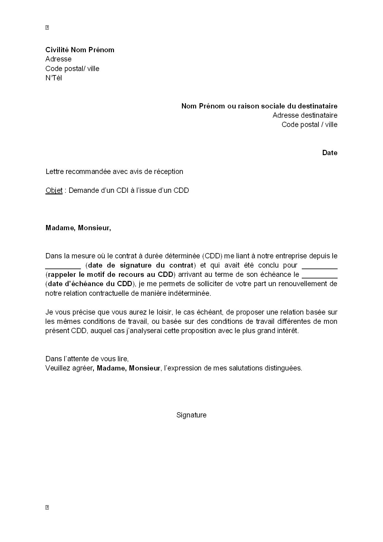 Exemple Gratuit De Lettre Demande Un Cdi A Issue Un Cdd