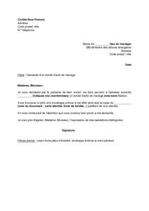 Demande certificat de mariage