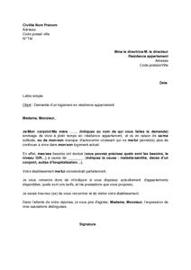 Lettre De Demande D Un Logement En Residence Appartement Par Une