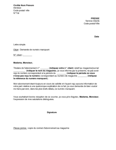 lettre demande de document manquant