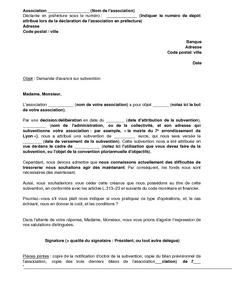 lettre demande de subvention pour une association