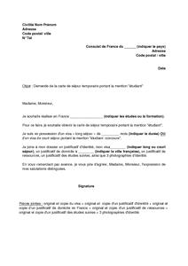 Lettre De Demande D Une Carte De Sejour Temporaire Mention Etudiant Modele De Lettre Gratuit Exemple De Lettre Type Documentissime