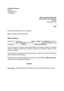 Lettre De Demande De Certificat De Travail A Son Employeur Apres Un